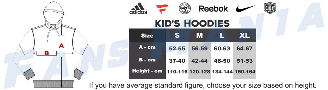 NHL Kids Sweatshirts sizing chart