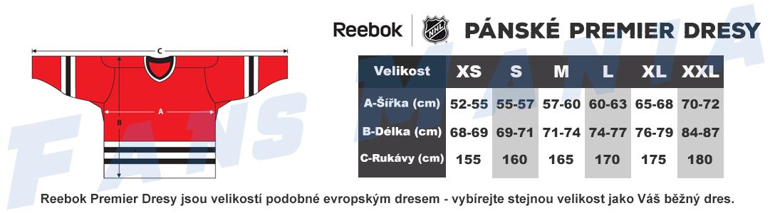Tabulka velikosti Reebok NHL dresy