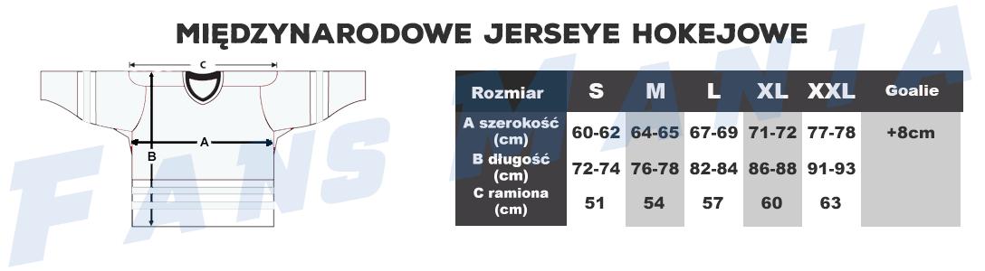 Tabela rozmiarów międzynarodowe hokejowe męskie jerseye