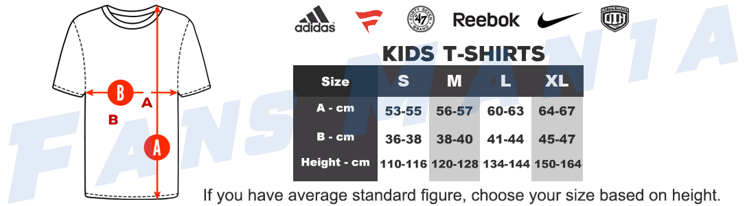 NHL kids t-shirts sizing chart