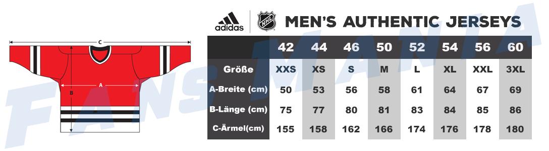 Größentabelle NHL Adidas authentic herren trikots