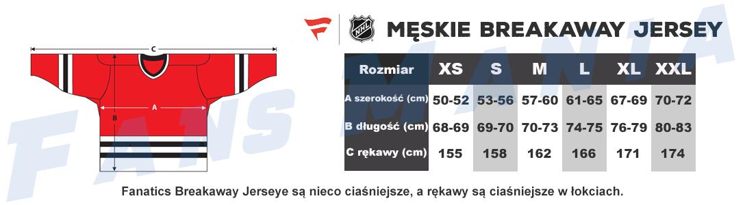 Tabela rozmiarów NHL Fanatics Breakaway męskie jerseye
