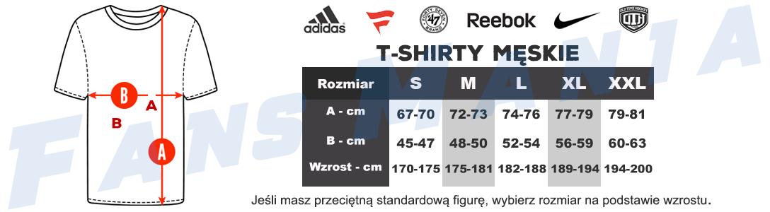 Tabela rozmiarów męskie t-shirty NHL, NBA, NFL, MLB