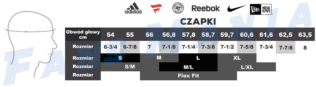 Tabela rozmiarów męskie czapki NHL, NBA, NFL, MLB