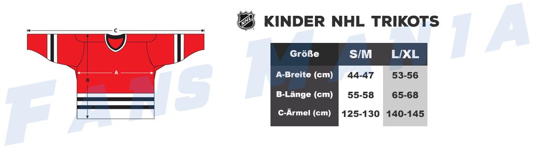 Größentabelle NHL kinder trikots