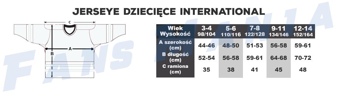 Tabela rozmiarów Międzynarodowe HokejoweDziecięce Jerseye