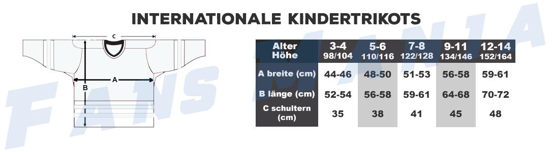 Größentabelle internationalen Eishockeymannschaften kinder trikots