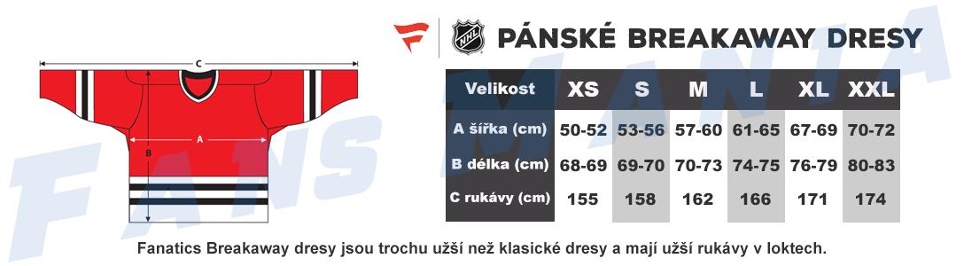 tabulka velikosti Fanatics NHL dresy