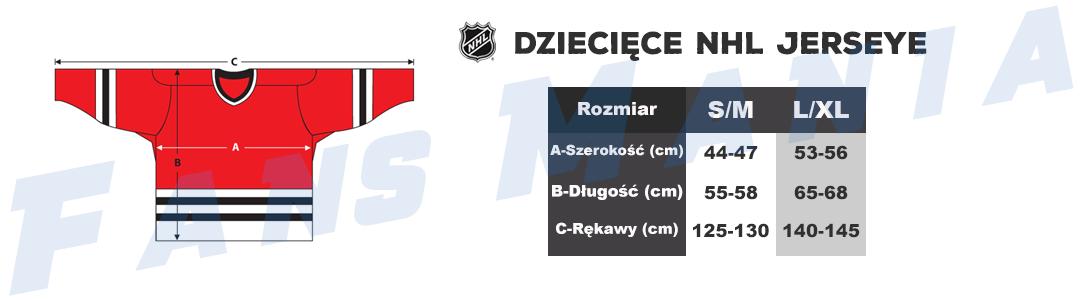 Tabela rozmiarów dzieciece jerseye NHL