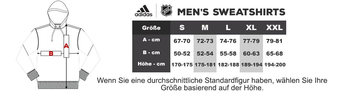 Größentabelle Adidas NHL herren sweatshirts
