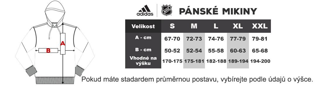 Tabulka velikosti Adidas NHL panske mikiny
